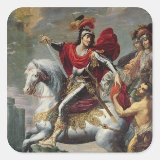 San Martín que comparte su capa con el mendigo Pegatina Cuadrada
