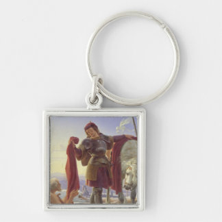 San Martín y el mendigo, 1836 Llavero Cuadrado Plateado
