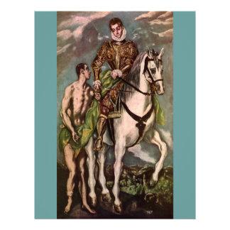 """San Martín y el mendigo de El Greco, circa 1600 Folleto 8.5"""" X 11"""""""