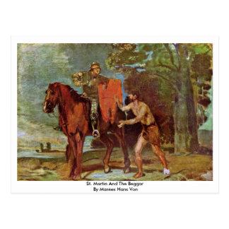 San Martín y el mendigo de Marées Hans Von Tarjeta Postal