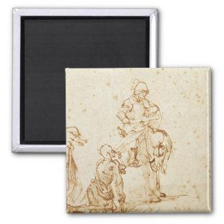 San Martín y el mendigo (pluma y tinta en el papel Imán