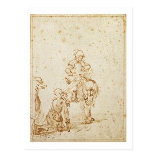 San Martín y el mendigo (pluma y tinta en el Postal