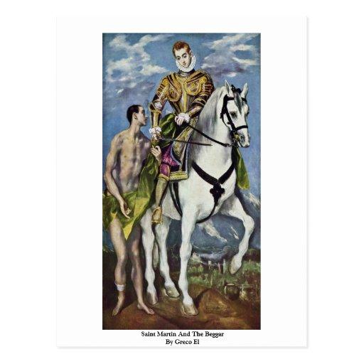 San Martín y el mendigo por el EL de Greco Postal