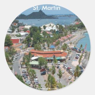 San Martín y foto de la bahía de Marigot Pegatina Redonda
