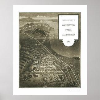 San Mateo Park, CA Panoramic Map - 1905 Print