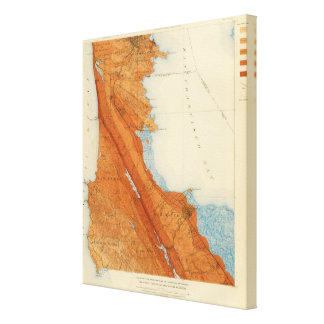 San Mateo quadrangle showing intensity, faults Canvas Print