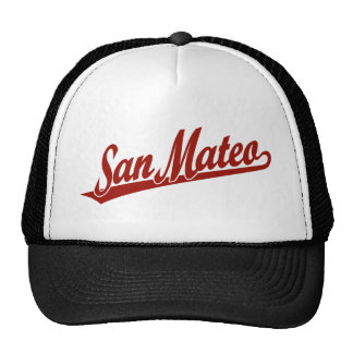 San Mateo script logo in red Mesh Hats