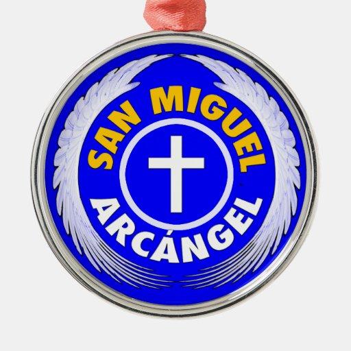 San Miguel Arcangel Adorno Redondo Plateado
