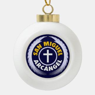 San Miguel Arcangel Ceramic Ball Christmas Ornament