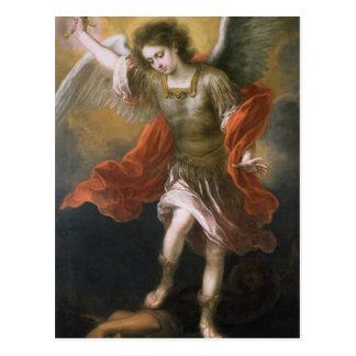San Miguel banishes al diablo al abismo Tarjeta Postal