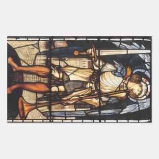 San Miguel de Burne Jones, arcángel del vintage Pegatina Rectangular