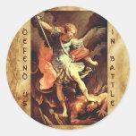 San Miguel el arcángel Etiqueta