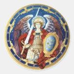 San Miguel el pegatina redondo del arcángel