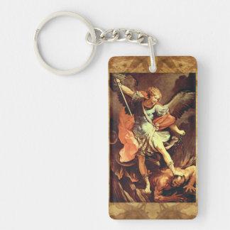 San Miguel el pergamino del rezo del arcángel Llavero Rectangular Acrílico A Doble Cara