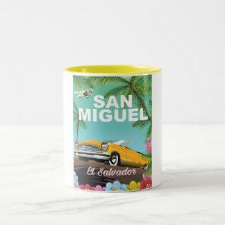 San Miguel El Salvador vintage travel poster Two-Tone Coffee Mug