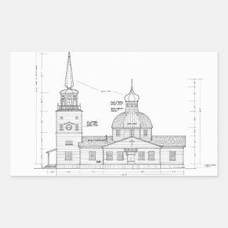 San Miguel - elevación del sur Pegatina Rectangular