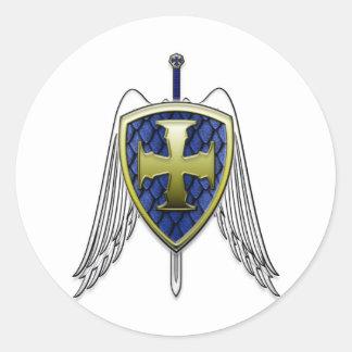 San Miguel - escudo de la escala del dragón Pegatina Redonda