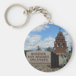 San Miguel Mission Bell Tower and Sign Basic Round Button Keychain