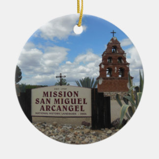 San Miguel Mission Bell Tower and Sign Ceramic Ornament