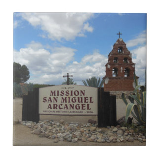 San Miguel Mission Bell Tower and Sign Ceramic Tile