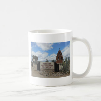 San Miguel Mission Bell Tower and Sign Classic White Coffee Mug