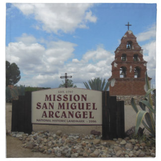 San Miguel Mission Bell Tower and Sign Cloth Napkin