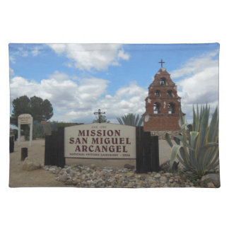 San Miguel Mission Bell Tower and Sign Cloth Placemat