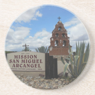 San Miguel Mission Bell Tower and Sign Coaster