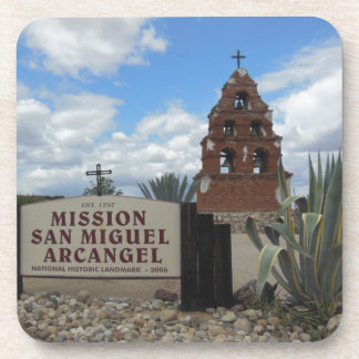 San Miguel Mission Bell Tower and Sign Drink Coaster