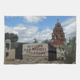 San Miguel Mission Bell Tower and Sign Kitchen Towel