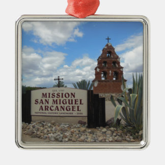 San Miguel Mission Bell Tower and Sign Metal Ornament