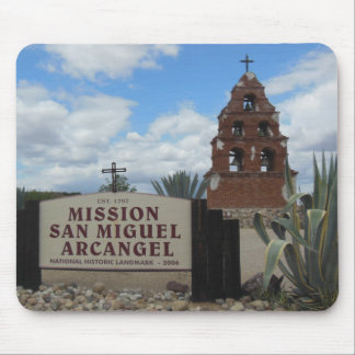 San Miguel Mission Bell Tower and Sign Mouse Pad