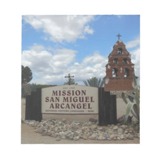 San Miguel Mission Bell Tower and Sign Notepad