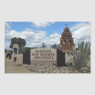 San Miguel Mission Bell Tower and Sign Rectangular Sticker