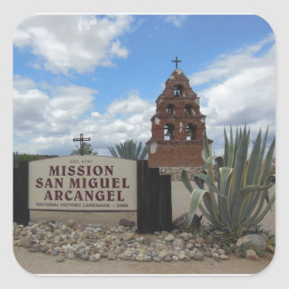 San Miguel Mission Bell Tower and Sign Square Sticker