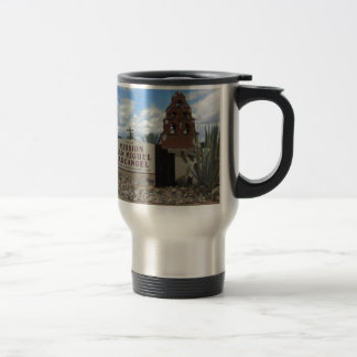 San Miguel Mission Bell Tower and Sign Travel Mug