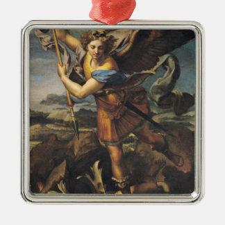 San Miguel que abruma al demonio, 1518 Adorno Cuadrado Plateado