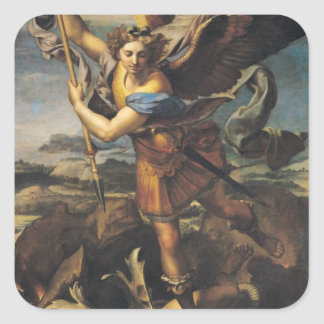 San Miguel que abruma al demonio, 1518 Calcomanía Cuadrada