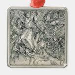 San Miguel que lucha con el dragón Adorno Navideño Cuadrado De Metal