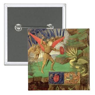 San Miguel que mata el dragón Pin Cuadrada 5 Cm
