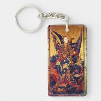 San Miguel que vence el pergamino del rezo del Llavero Rectangular Acrílico A Doble Cara