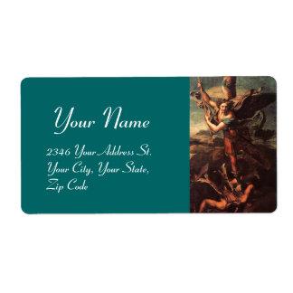 SAN MIGUEL VANGUISHING SATAN azulverde Etiqueta De Envío