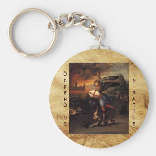 San Miguel y el dragón, negro marrón Llavero Redondo Tipo Pin