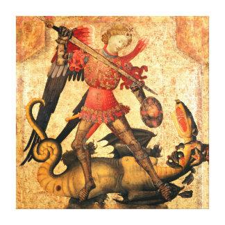San Miguel y el dragón (siglo XV) Impresión En Lienzo Estirada