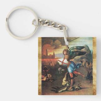 San Miguel y el pergamino del rezo del dragón Llavero Cuadrado Acrílico A Doble Cara
