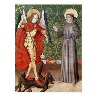 San Miguel y St Francis de Assisi, c.1480 Tarjeta Postal