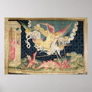 San Miguel y sus ángeles que luchan el dragón Impresiones