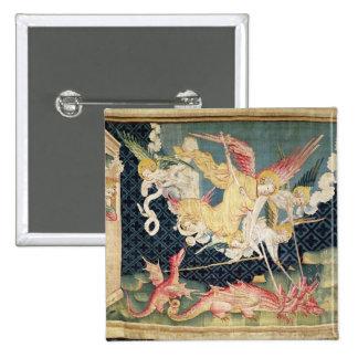 San Miguel y sus ángeles que luchan el dragón Pin Cuadrado