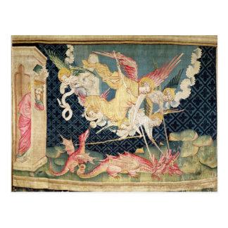San Miguel y sus ángeles que luchan el dragón Tarjeta Postal