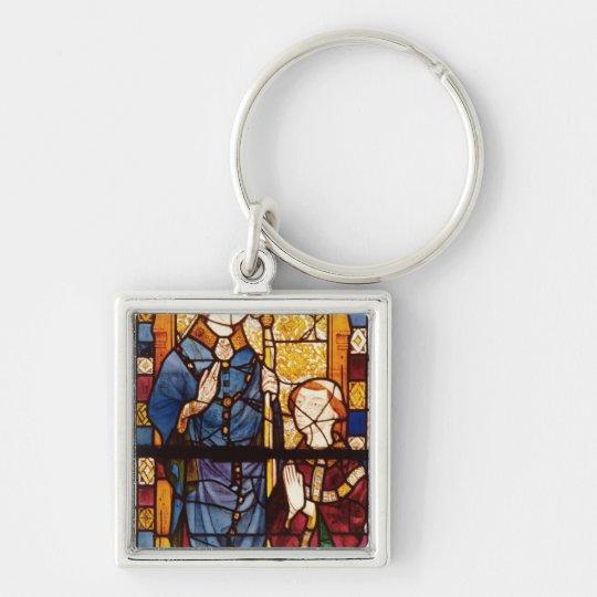 San Nicolás con un donante Llavero Cuadrado Plateado